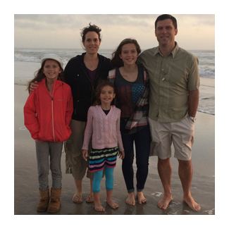 The Seagraves family on the beach