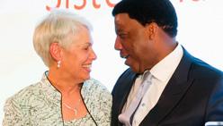 Sister Mary Ellen Leciejewski and Dignity Health President Lloyd Dean