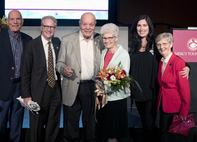 From left to right: Tom Naygrow (Ritz' son), John McIntyre, Ritz Naygrow, Sr. Bridget McCarthy, RSM, Tara Green (Ritz' granddaughter), and Sr. Kathleen Horgan, RSM