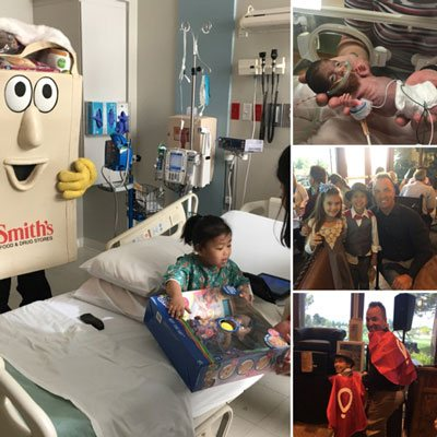 Smith's Food & Drug Stores visiting children at Dignity Health St. Rose Dominican's Pediatric Centers